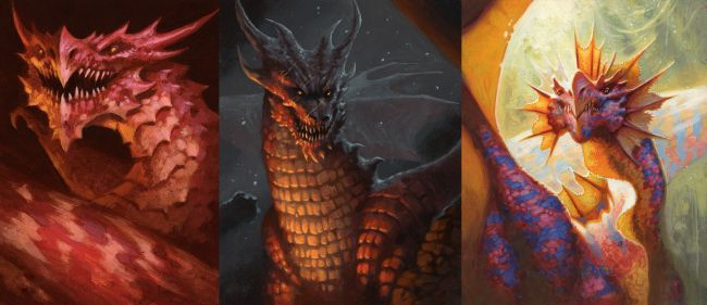 dragons with different lighting