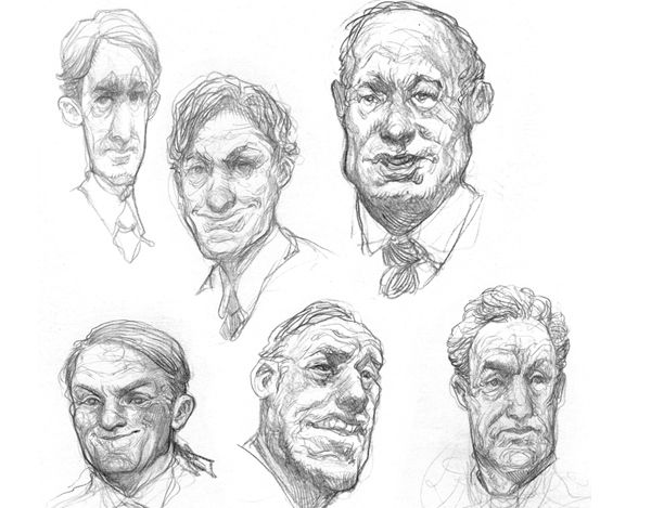 sketches of human faces
